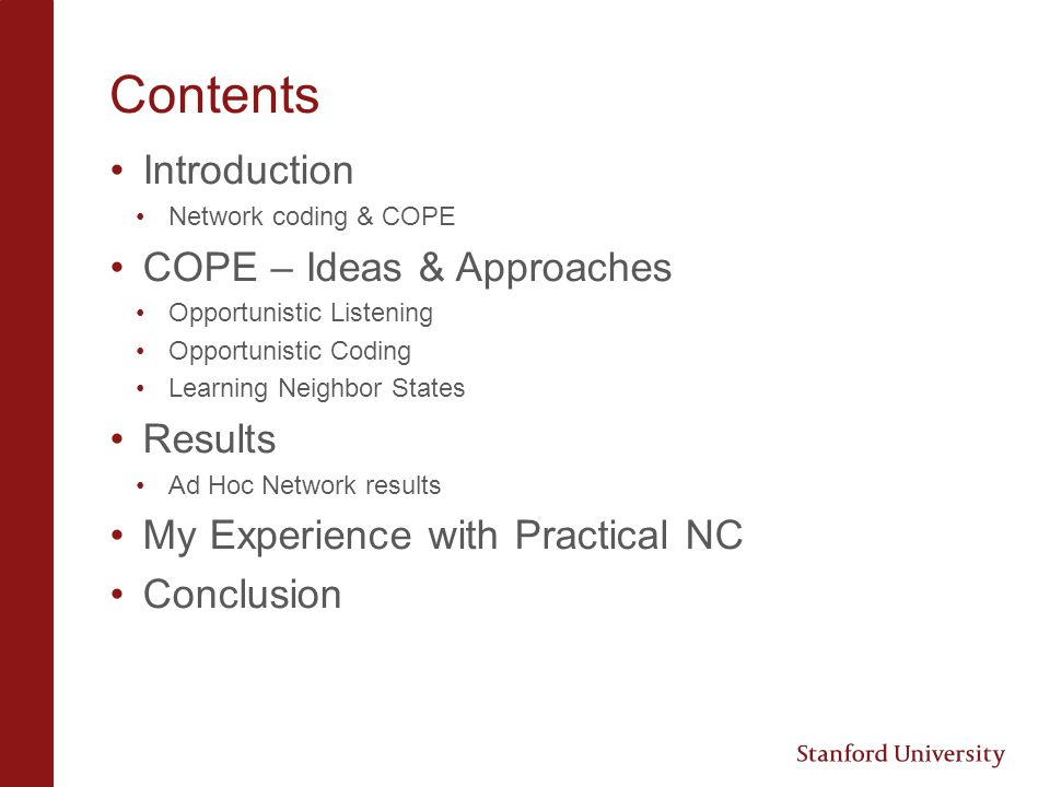 Contents Introduction COPE – Ideas & Approaches Results