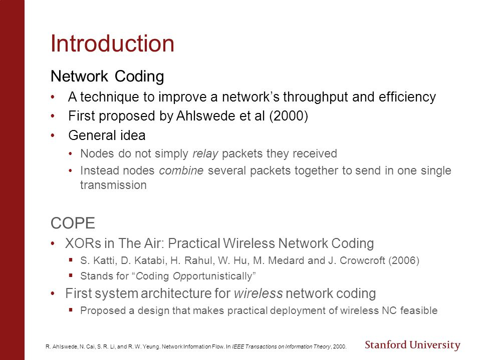 Introduction Network Coding COPE