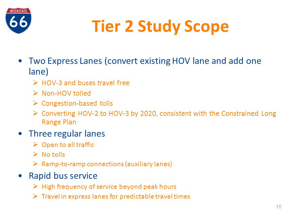 Tier 2 Study Scope Two Express Lanes (convert existing HOV lane and add one lane) HOV-3 and buses travel free.