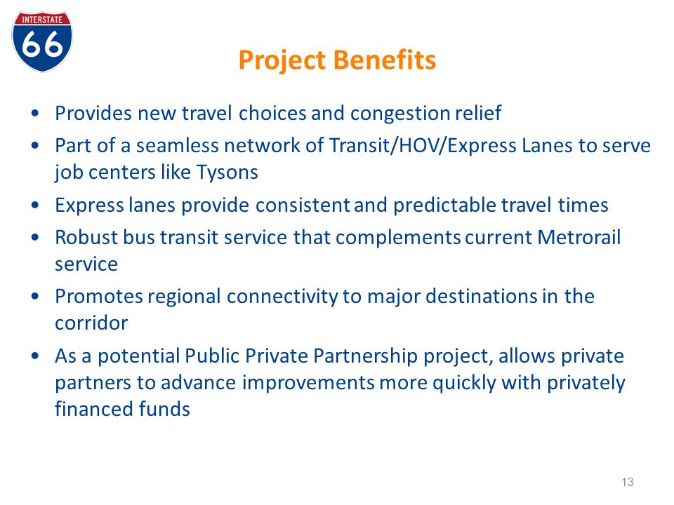 Project Benefits Provides new travel choices and congestion relief