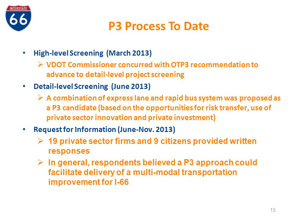 P3 Process To Date High-level Screening (March 2013)