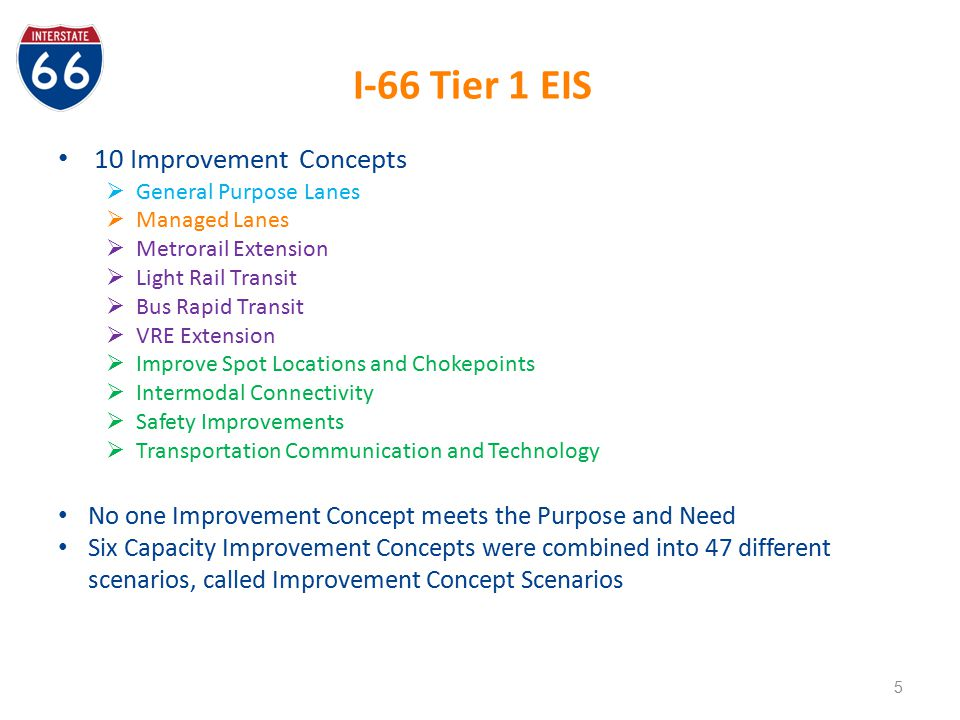 I-66 Tier 1 EIS 10 Improvement Concepts
