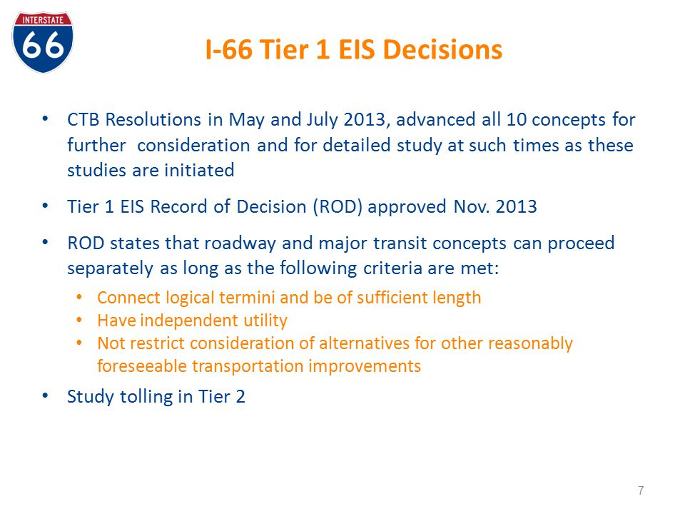 I-66 Tier 1 EIS Decisions