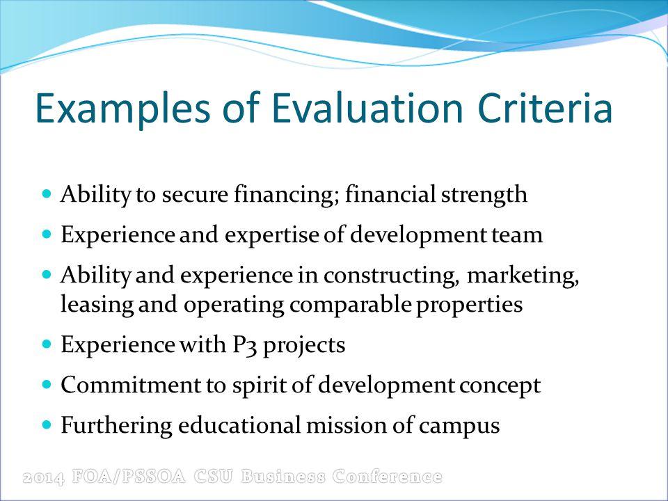 Examples of Evaluation Criteria