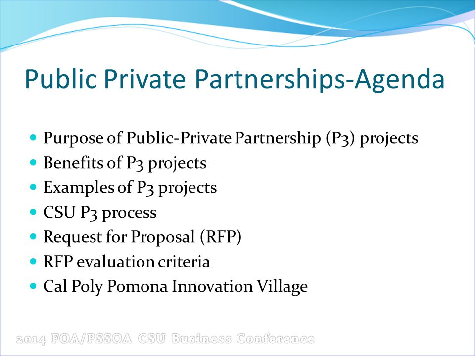 Public Private Partnerships-Agenda