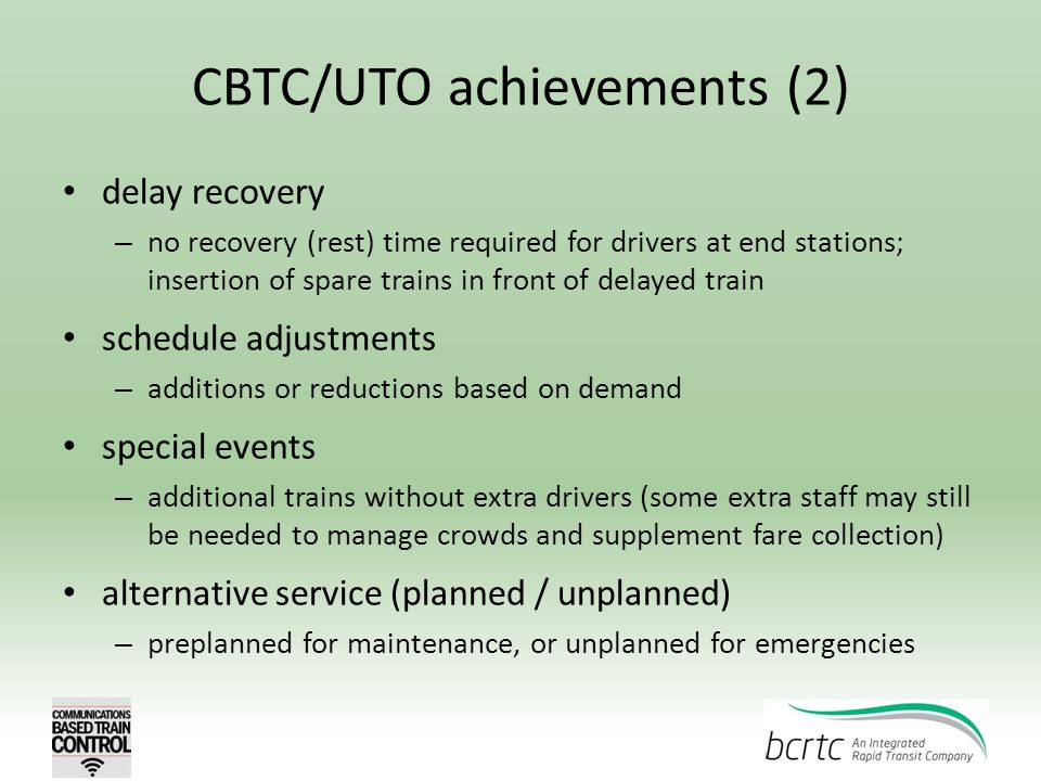 CBTC/UTO achievements (2)