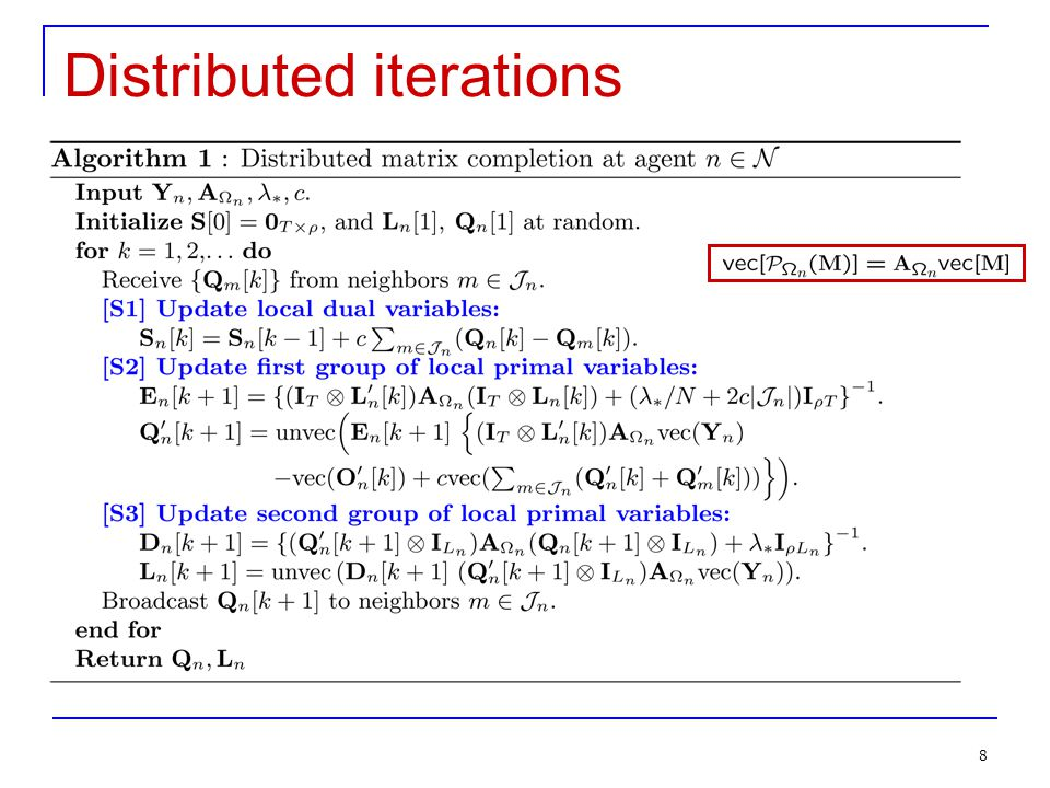 Distributed iterations