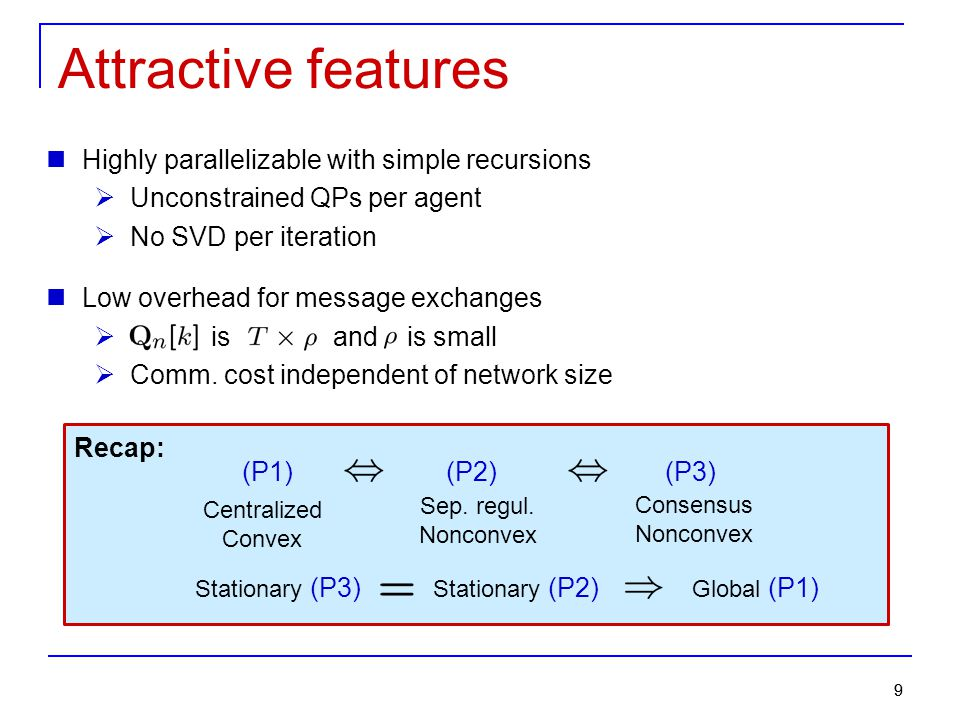 Attractive features Highly parallelizable with simple recursions