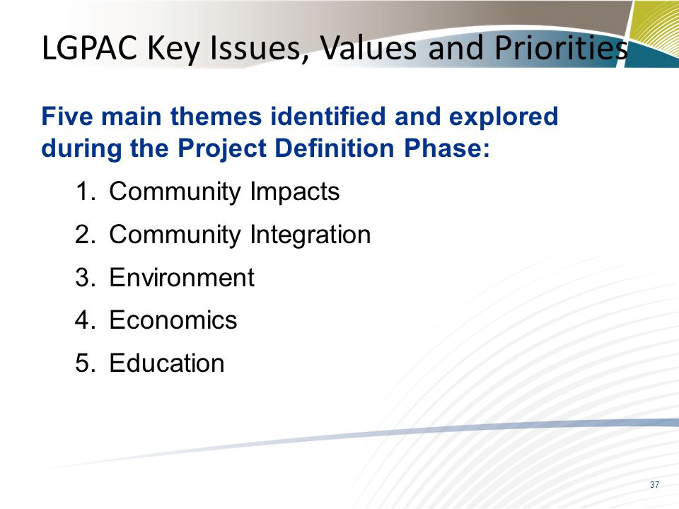 LGPAC Key Issues, Values and Priorities