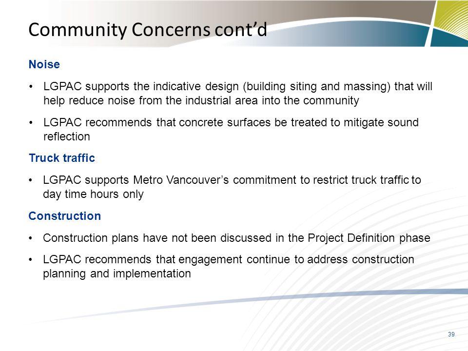 Community Concerns cont'd