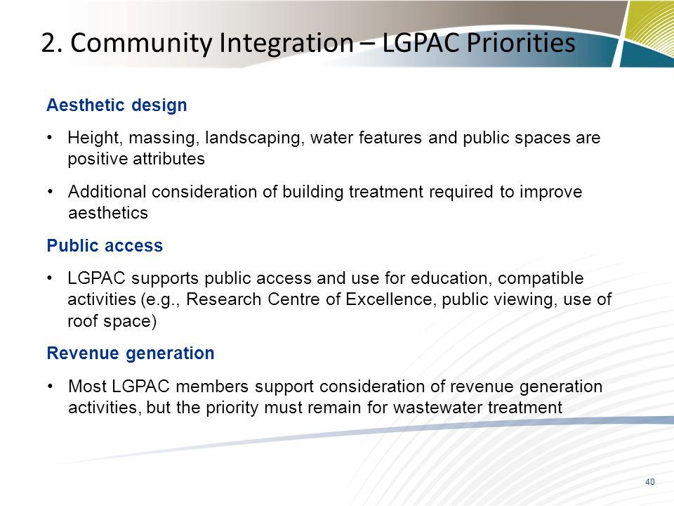 2. Community Integration – LGPAC Priorities
