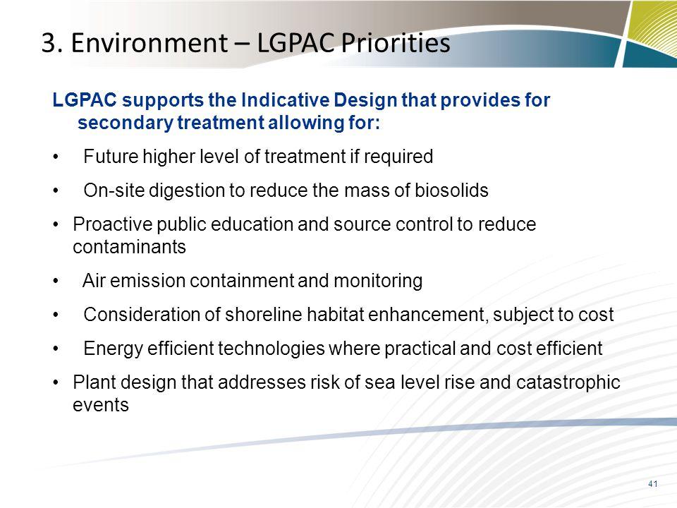 3. Environment – LGPAC Priorities