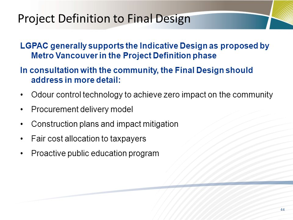 Project Definition to Final Design