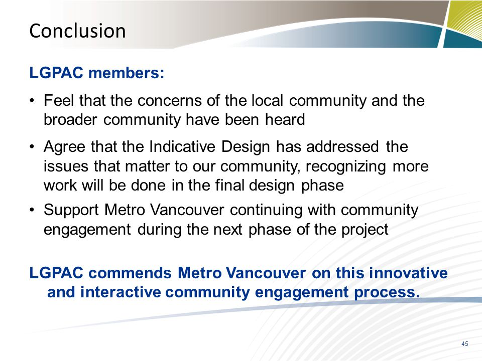 Conclusion LGPAC members: