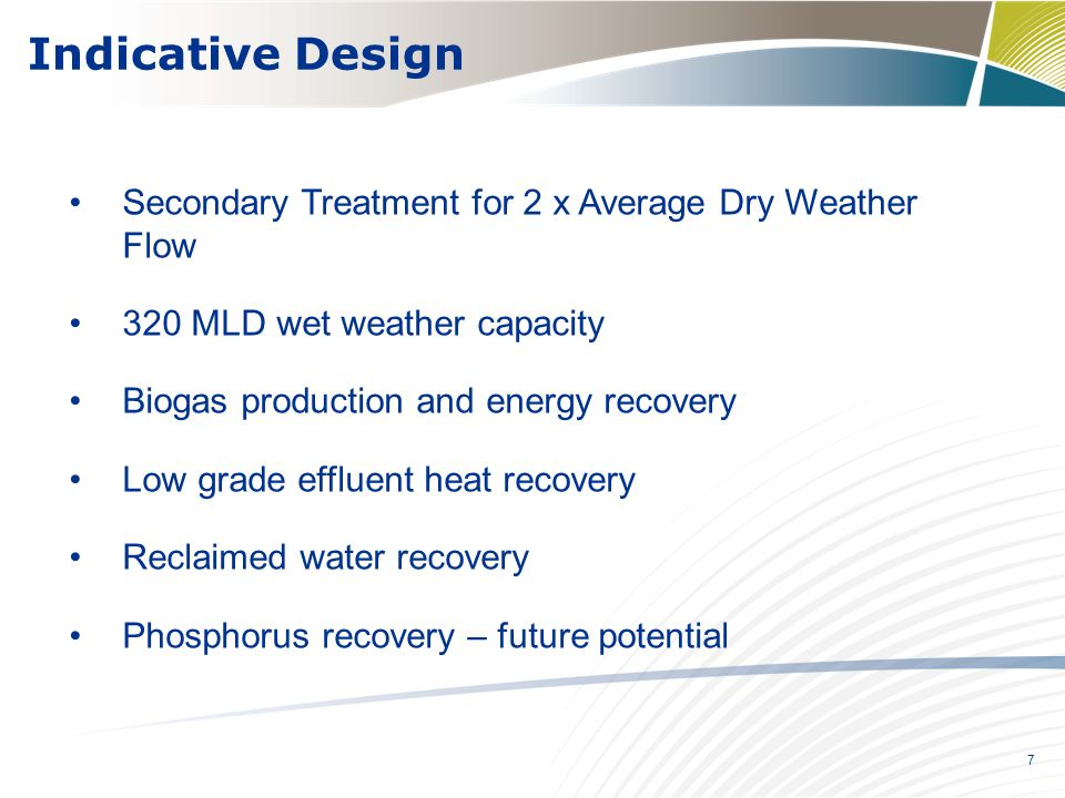 Indicative Design Secondary Treatment for 2 x Average Dry Weather Flow