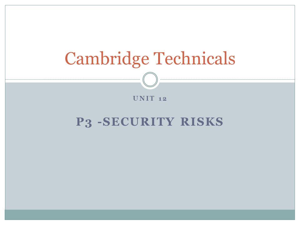 Cambridge Technicals Unit 12 P3 -Security risks