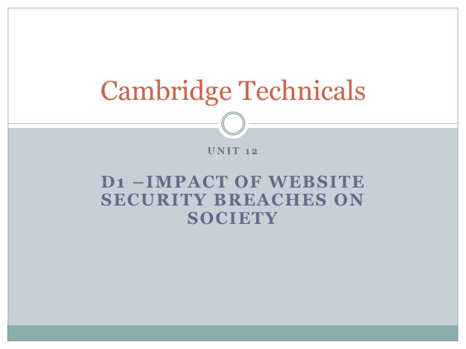 Unit 12 D1 –impact of website security breaches on society