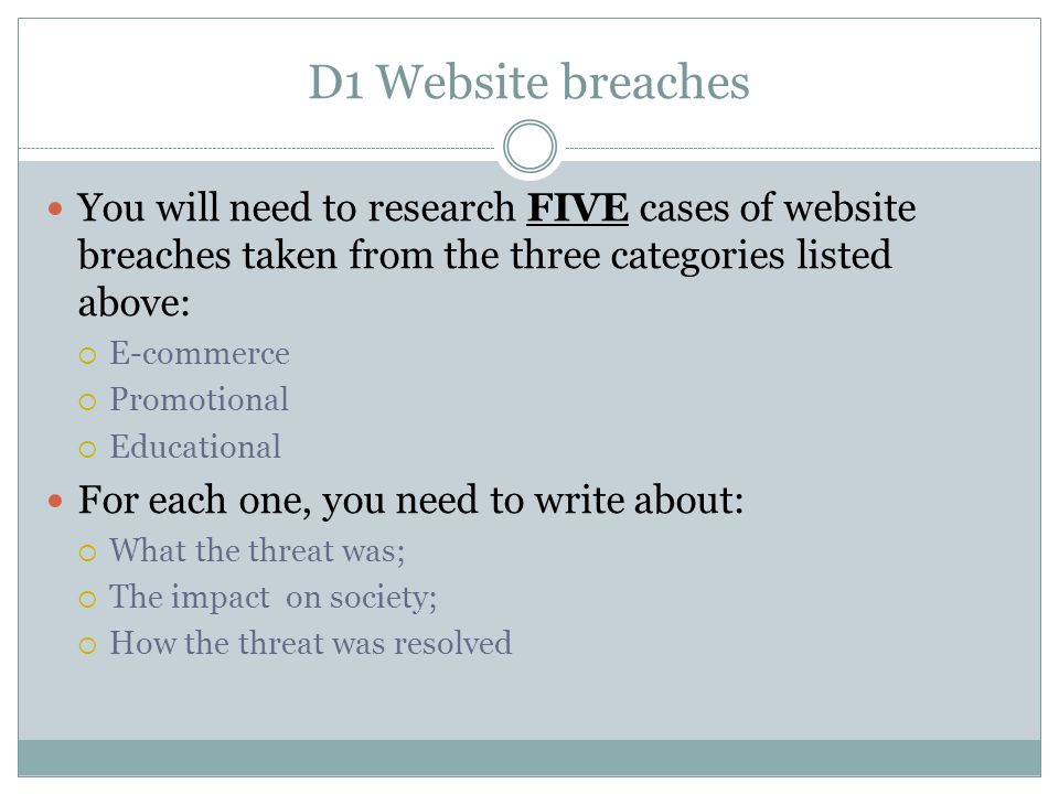 D1 Website breaches You will need to research FIVE cases of website breaches taken from the three categories listed above: