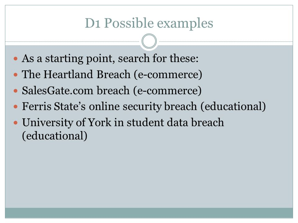 D1 Possible examples As a starting point, search for these: