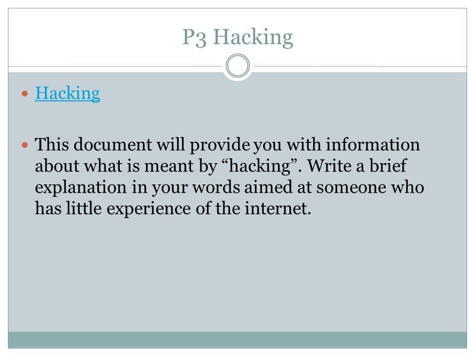 P3 Hacking Hacking.