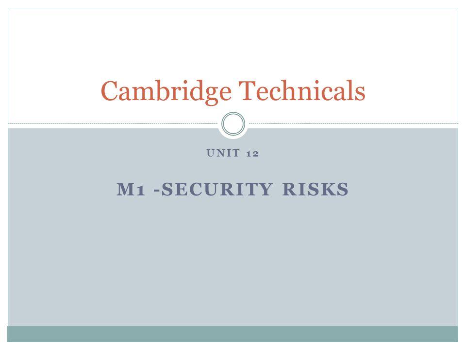 Cambridge Technicals Unit 12 M1 -Security risks