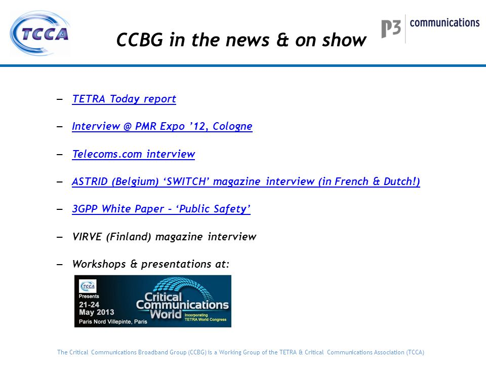CCBG in the news & on show