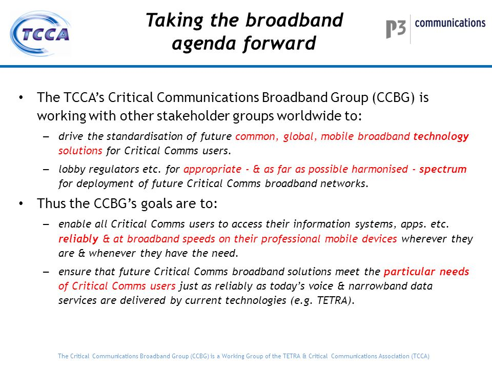 Taking the broadband agenda forward