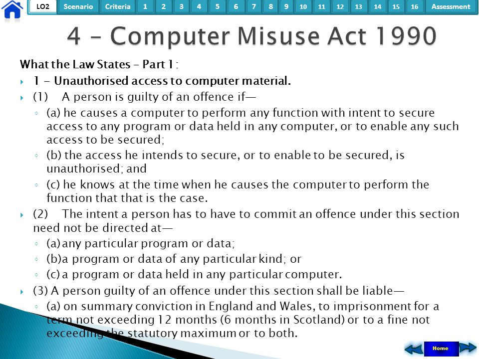 4 – Computer Misuse Act 1990 What the Law States – Part 1: