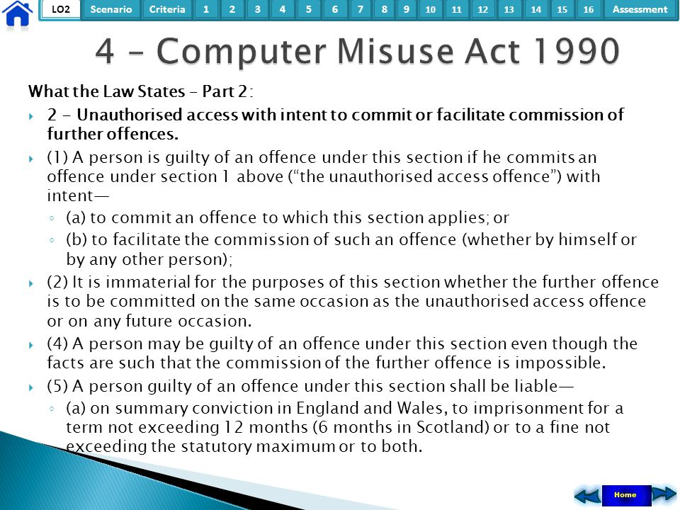 4 – Computer Misuse Act 1990 What the Law States – Part 2:
