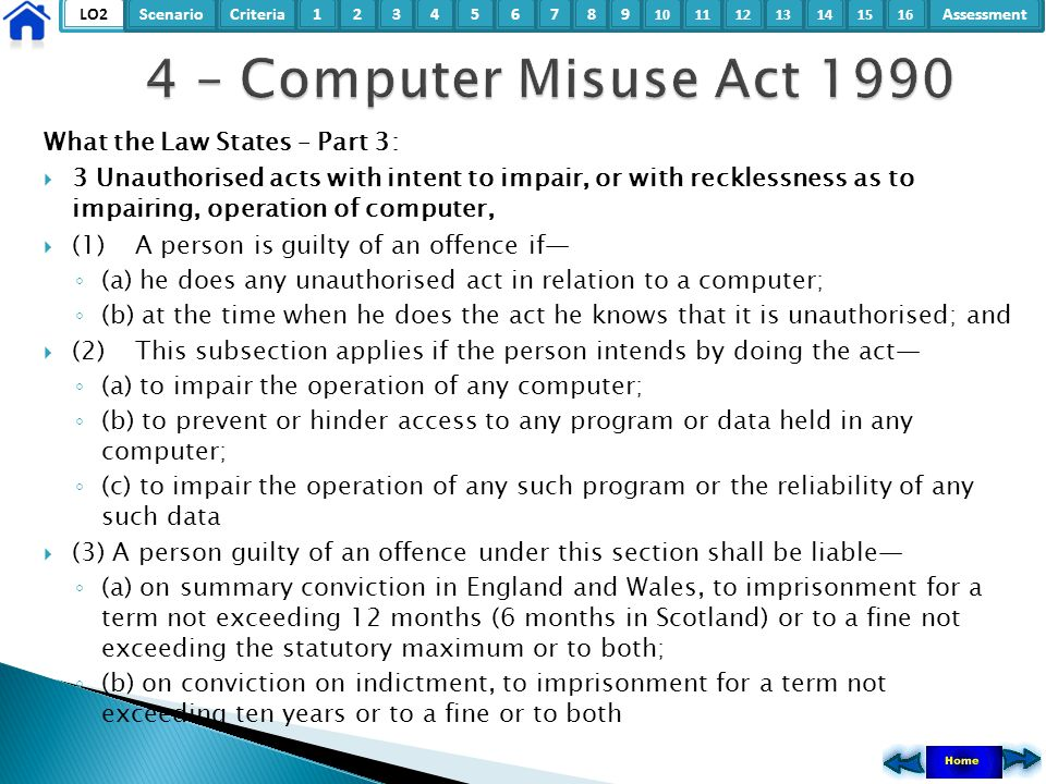 4 – Computer Misuse Act 1990 What the Law States – Part 3: