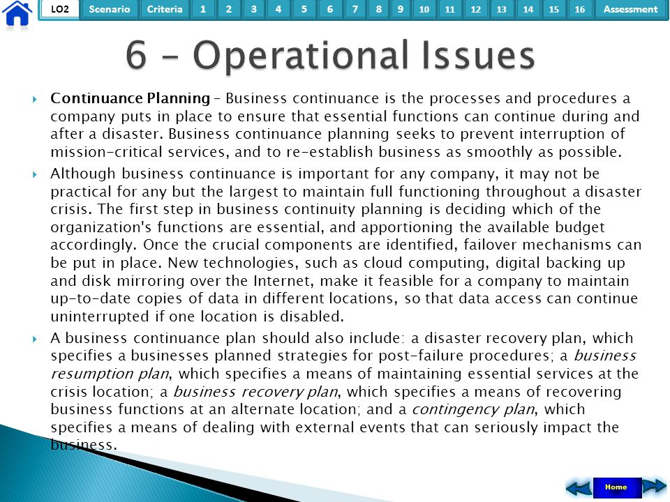 6 – Operational Issues