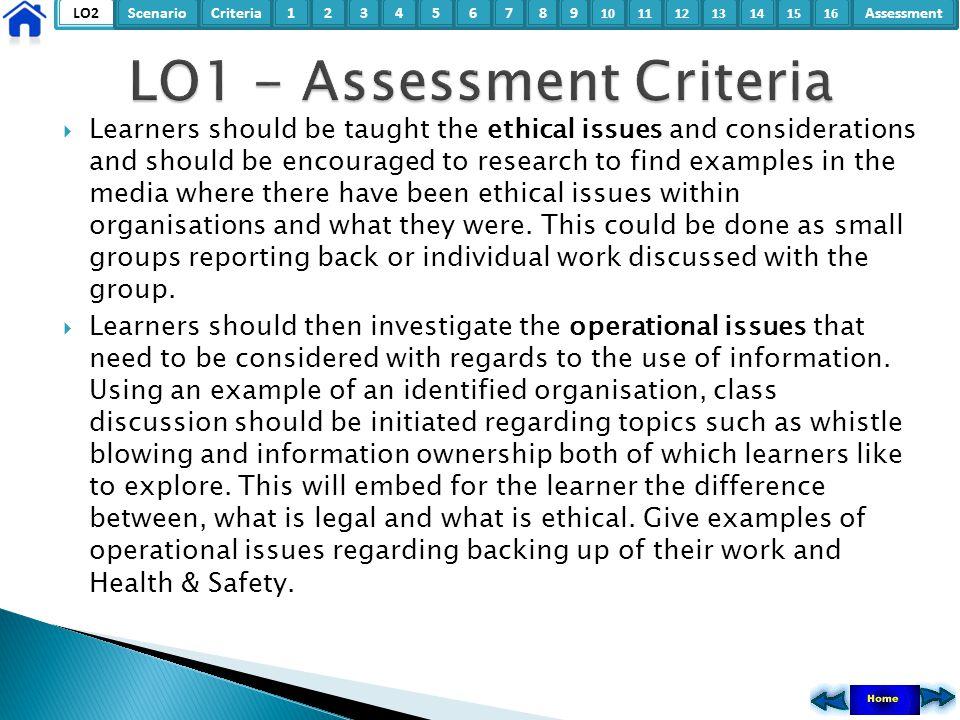 LO1 - Assessment Criteria
