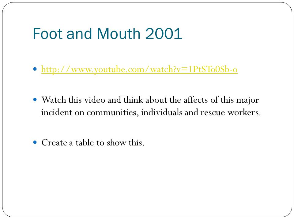 Foot and Mouth 2001 http://www.youtube.com/watch v=1PtSTo0Sb-o