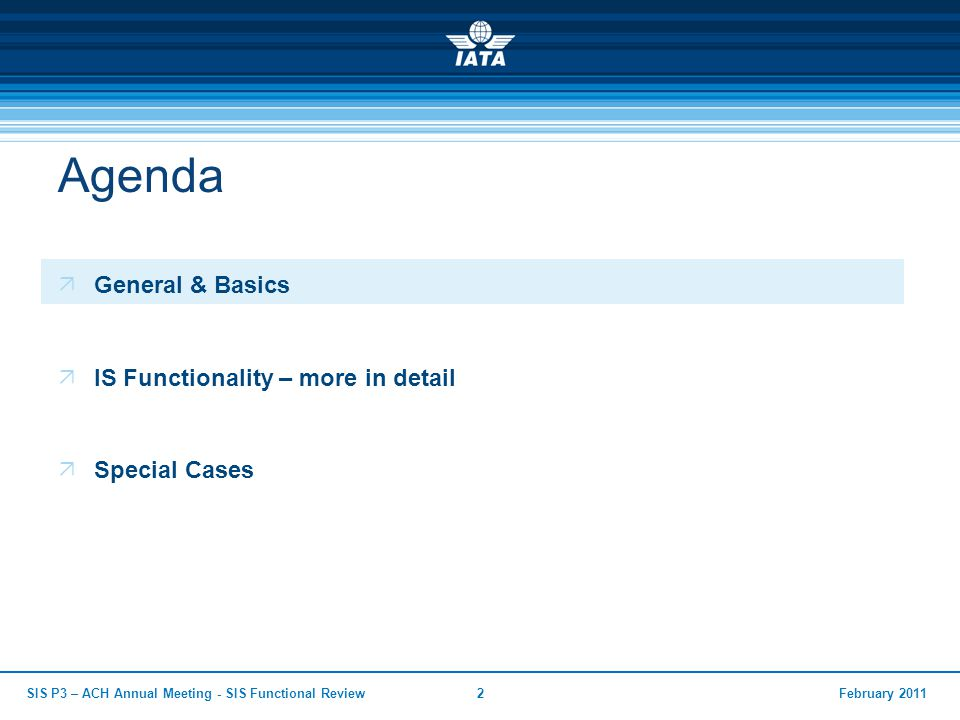 Agenda General & Basics IS Functionality – more in detail