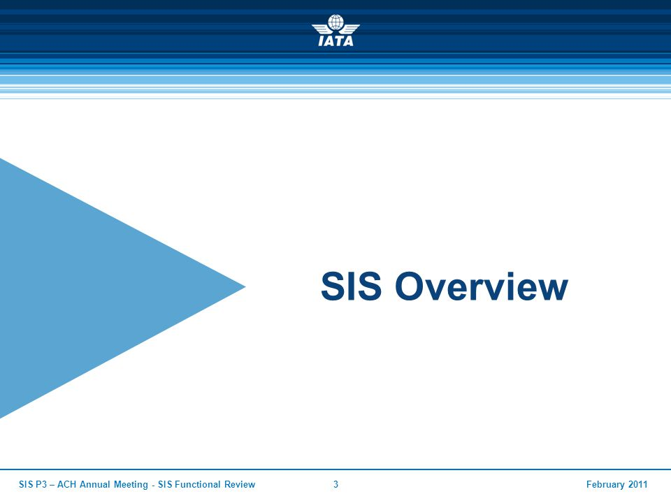 SIS Overview SIS P3 – ACH Annual Meeting - SIS Functional Review