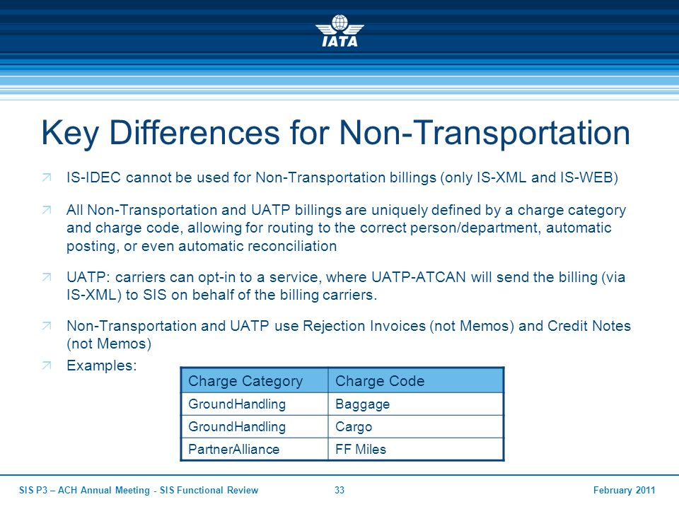 Key Differences for Non-Transportation