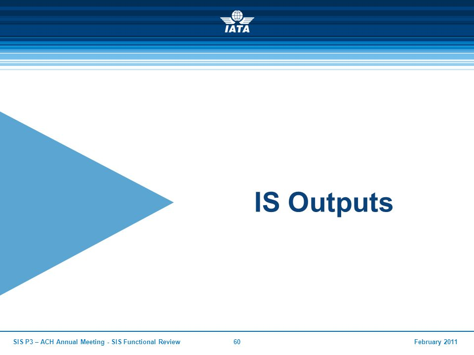 IS Outputs SIS P3 – ACH Annual Meeting - SIS Functional Review