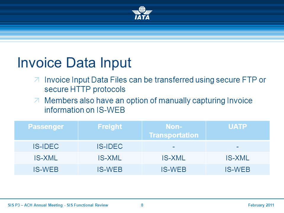 Invoice Data Input Invoice Input Data Files can be transferred using secure FTP or secure HTTP protocols.
