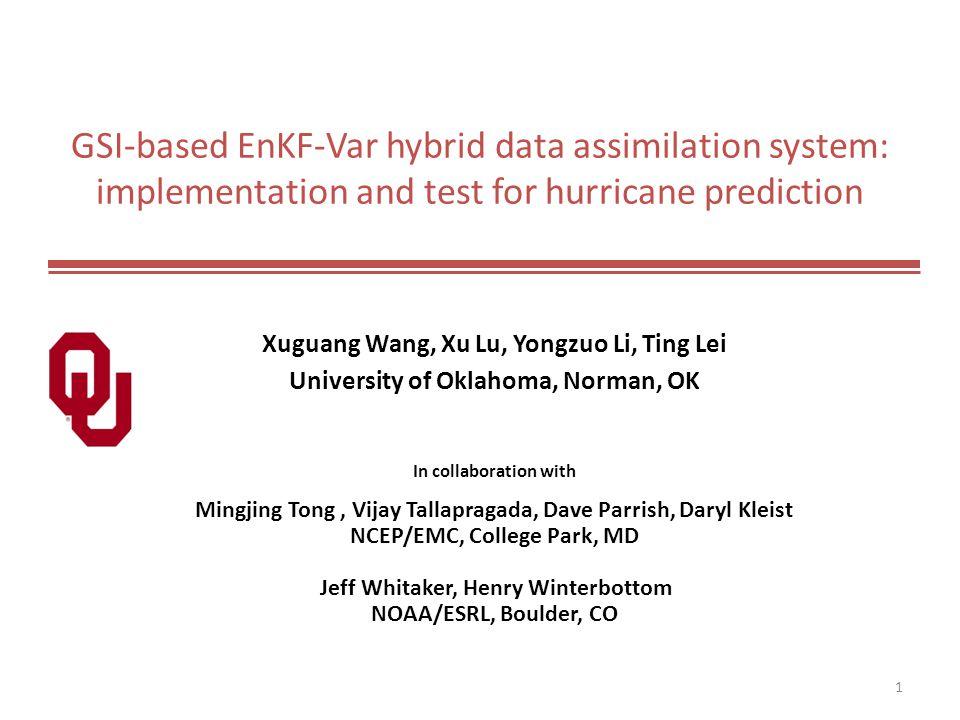 GSI-based EnKF-Var hybrid data assimilation system: implementation and test for hurricane prediction