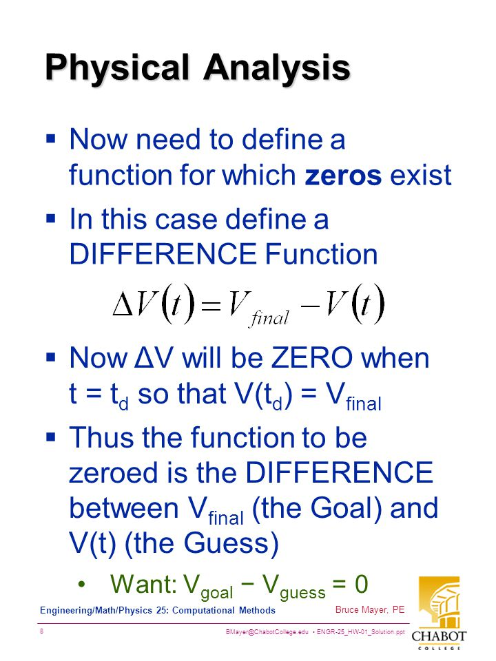 Physical Analysis Now need to define a function for which zeros exist