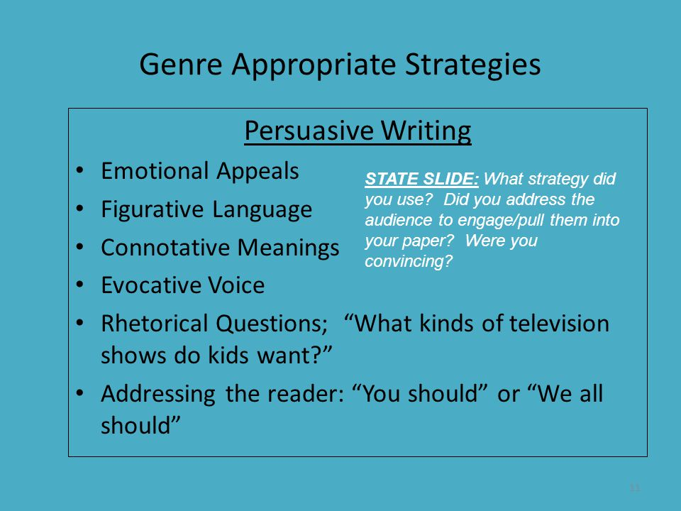 Genre Appropriate Strategies