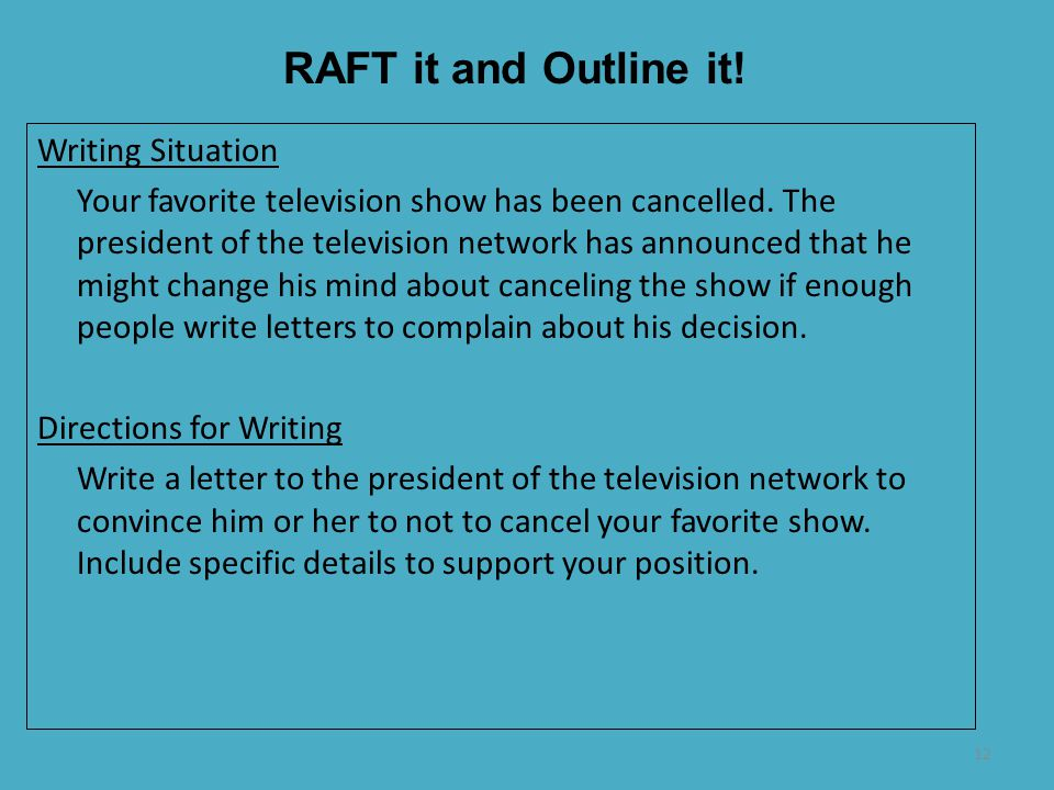 RAFT it and Outline it! Writing Situation