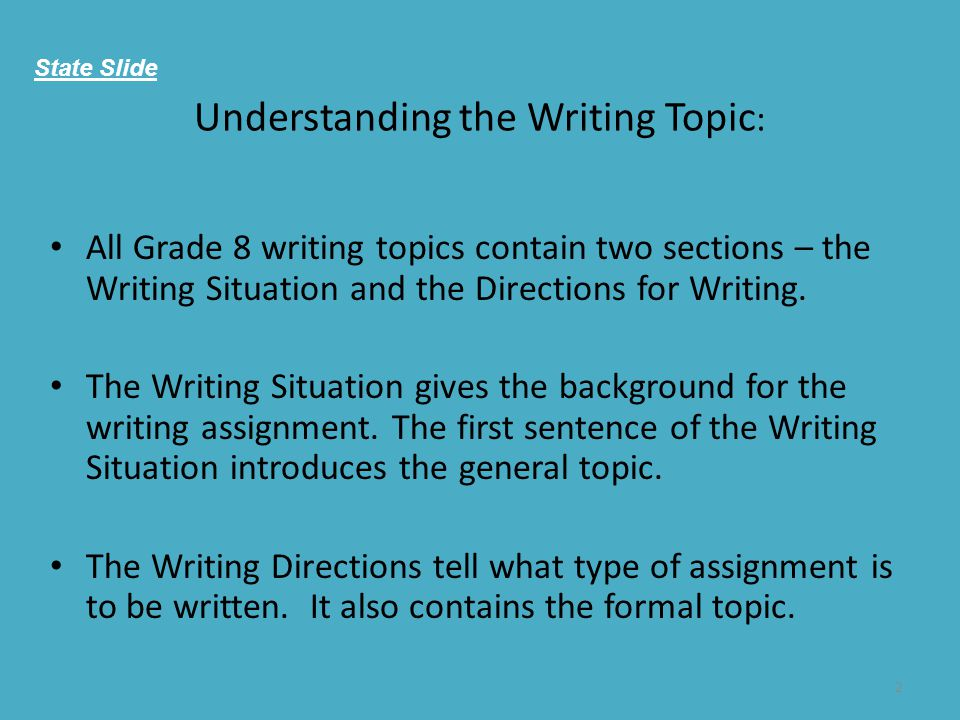 Understanding the Writing Topic: