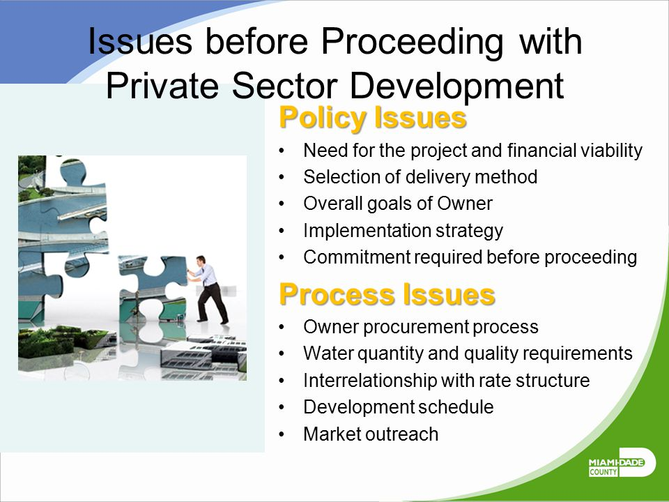 Issues before Proceeding with Private Sector Development