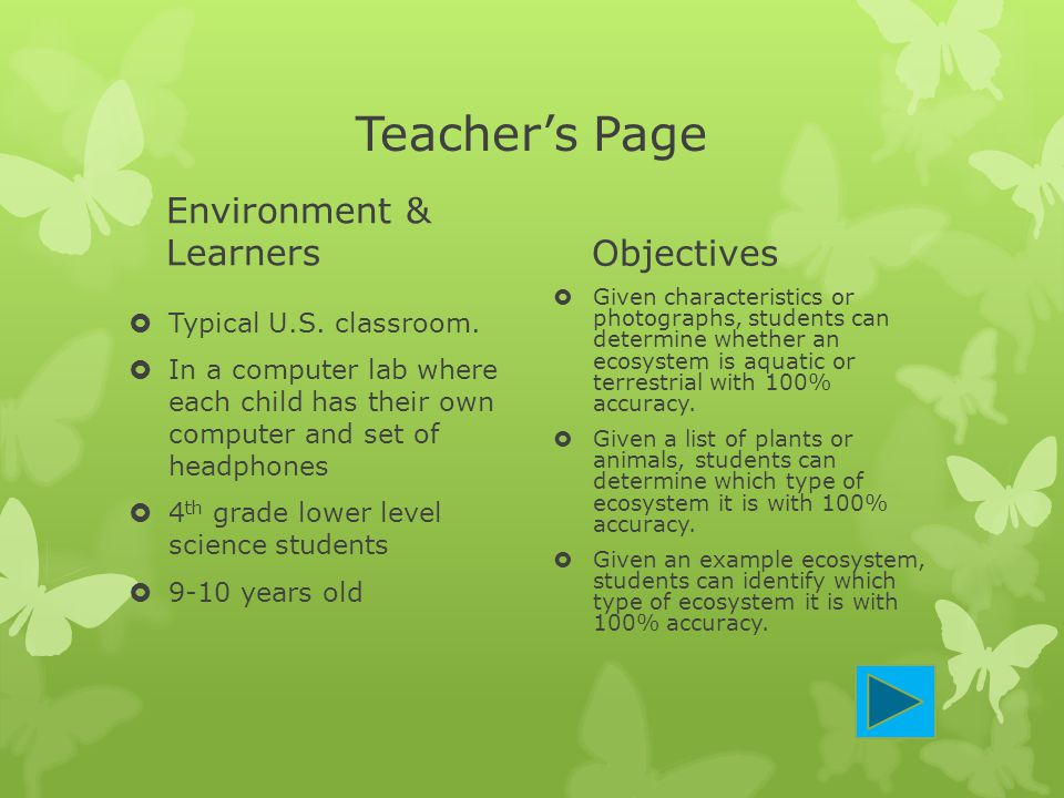 Teacher's Page Environment & Learners Objectives
