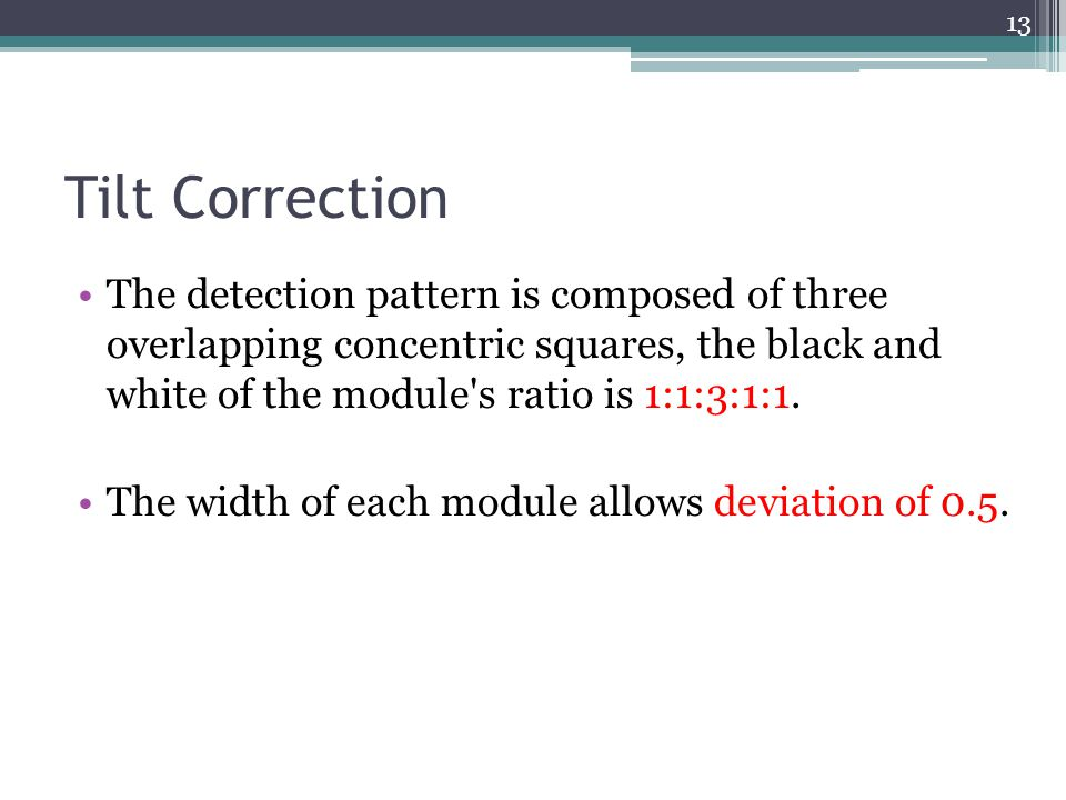 Tilt Correction The detection pattern is composed of three overlapping concentric squares, the black and white of the module s ratio is 1:1:3:1:1.