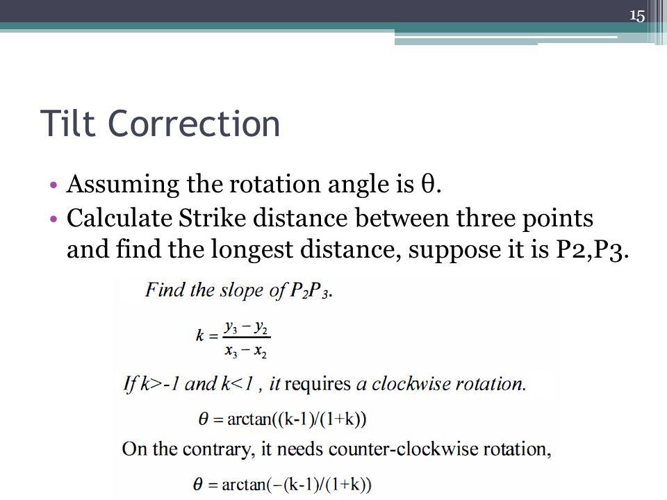 Tilt Correction Assuming the rotation angle is θ.
