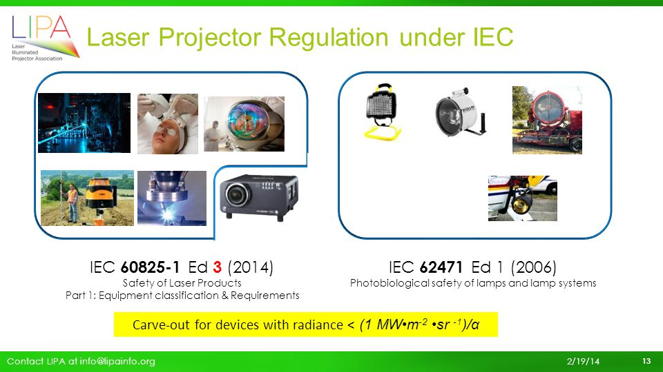 Laser Projector Regulation under IEC