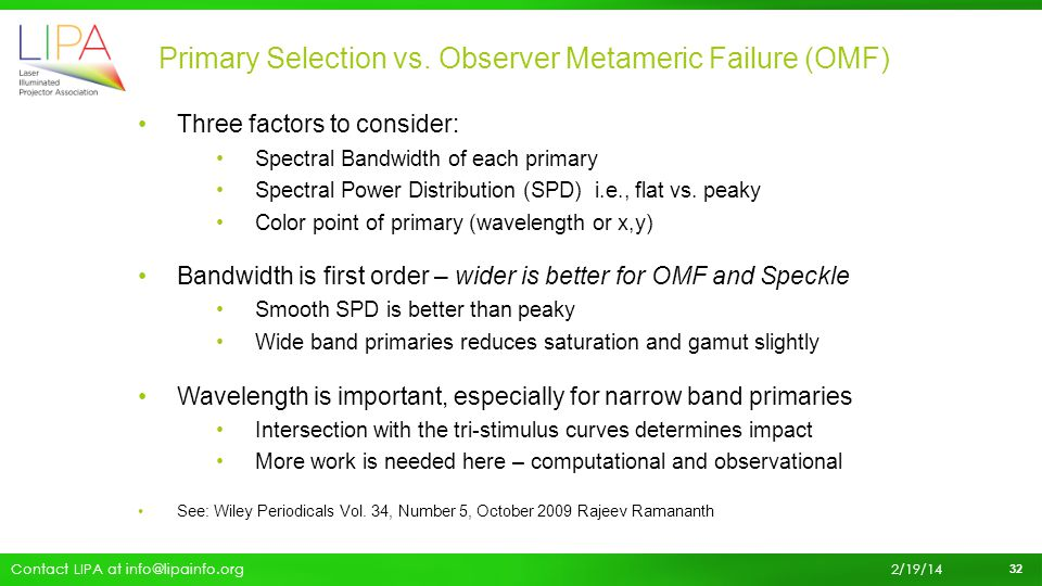 Primary Selection vs. Observer Metameric Failure (OMF)
