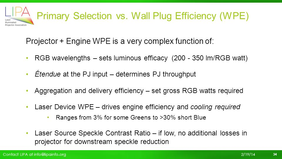 Primary Selection vs. Wall Plug Efficiency (WPE)